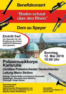 Plakat Einladung zum Benefizkonzert des Polizeimusikkorps Karlsruhe am 12. Mai 2019, um 15 Uhr, im Dom zu Speyer